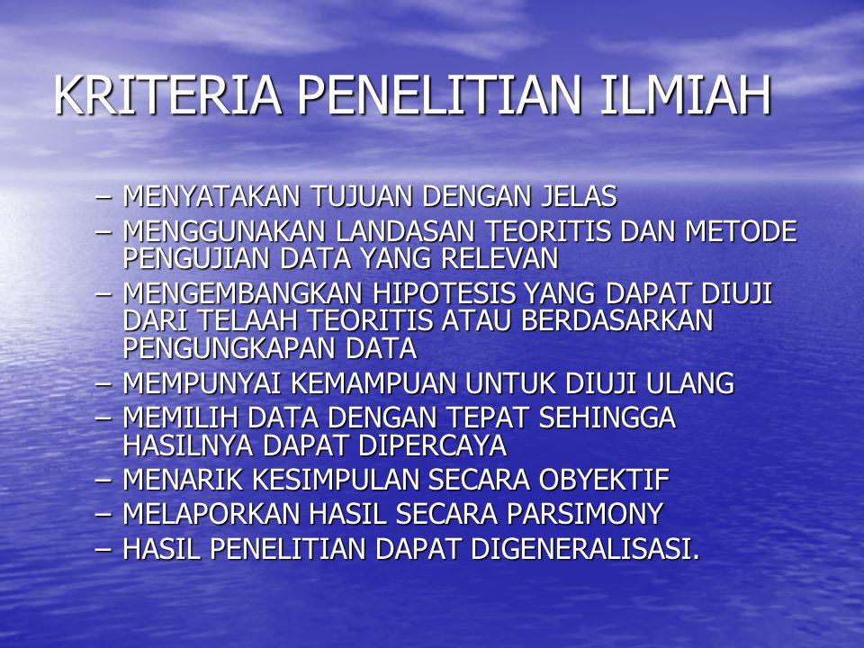 KRITERIA PENELITIAN ILMIAH