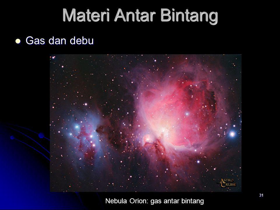 Materi Antar Bintang Gas dan debu Nebula Orion: gas antar bintang