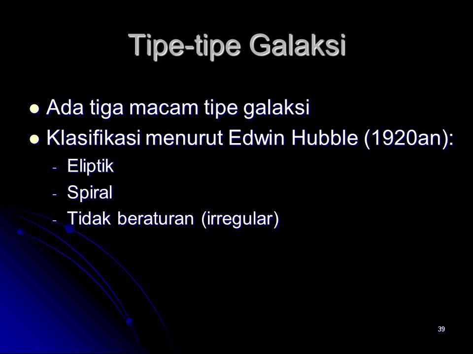 Tipe-tipe Galaksi Ada tiga macam tipe galaksi