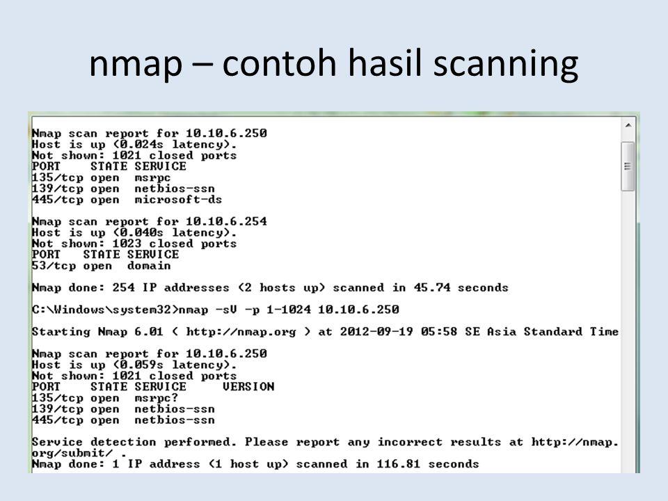 nmap – contoh hasil scanning