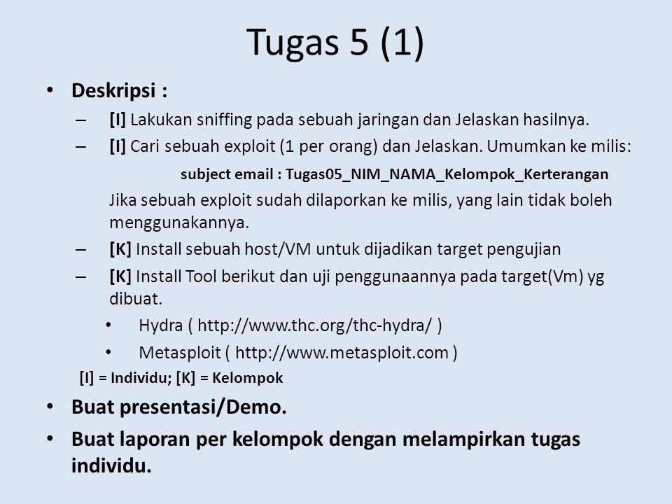 Tugas 5 (1) Deskripsi : Buat presentasi/Demo.