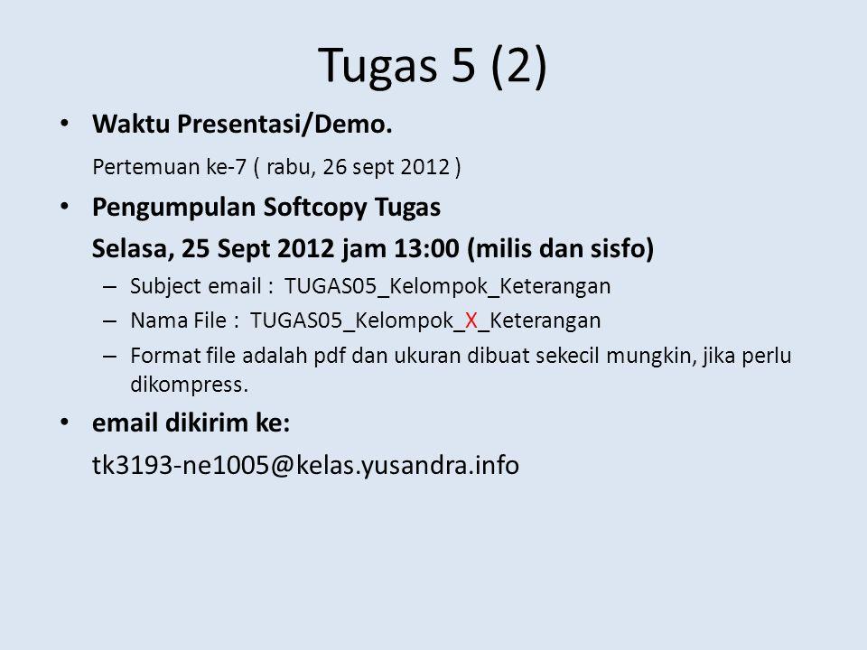 Tugas 5 (2) Waktu Presentasi/Demo.