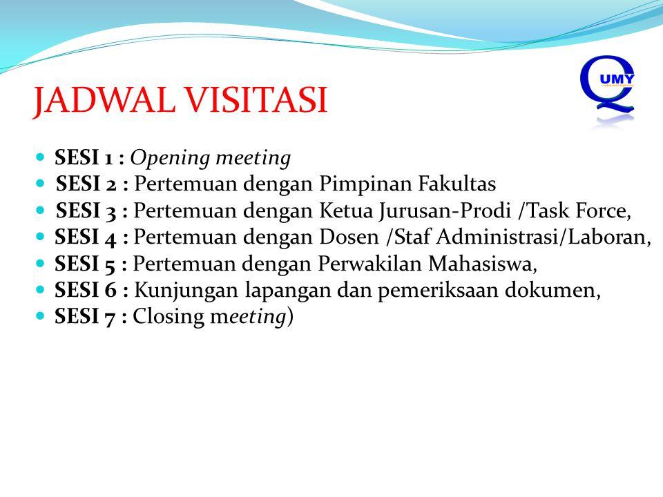 JADWAL VISITASI SESI 1 : Opening meeting