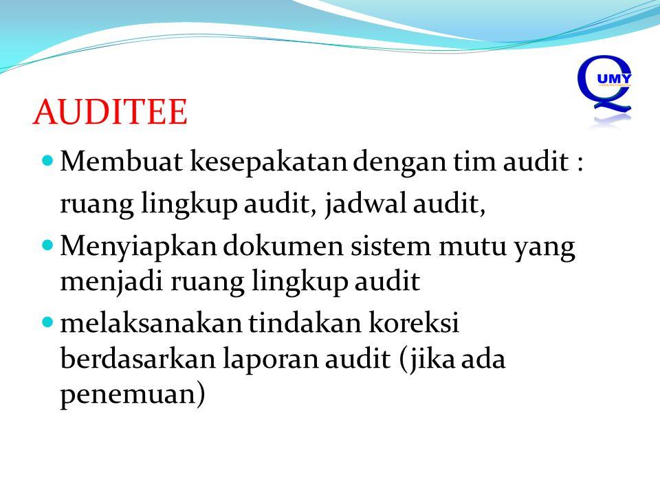 AUDITEE Membuat kesepakatan dengan tim audit :