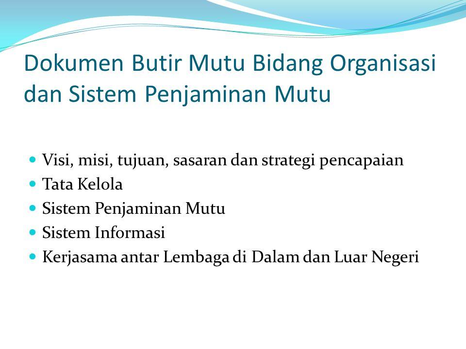 Dokumen Butir Mutu Bidang Organisasi dan Sistem Penjaminan Mutu