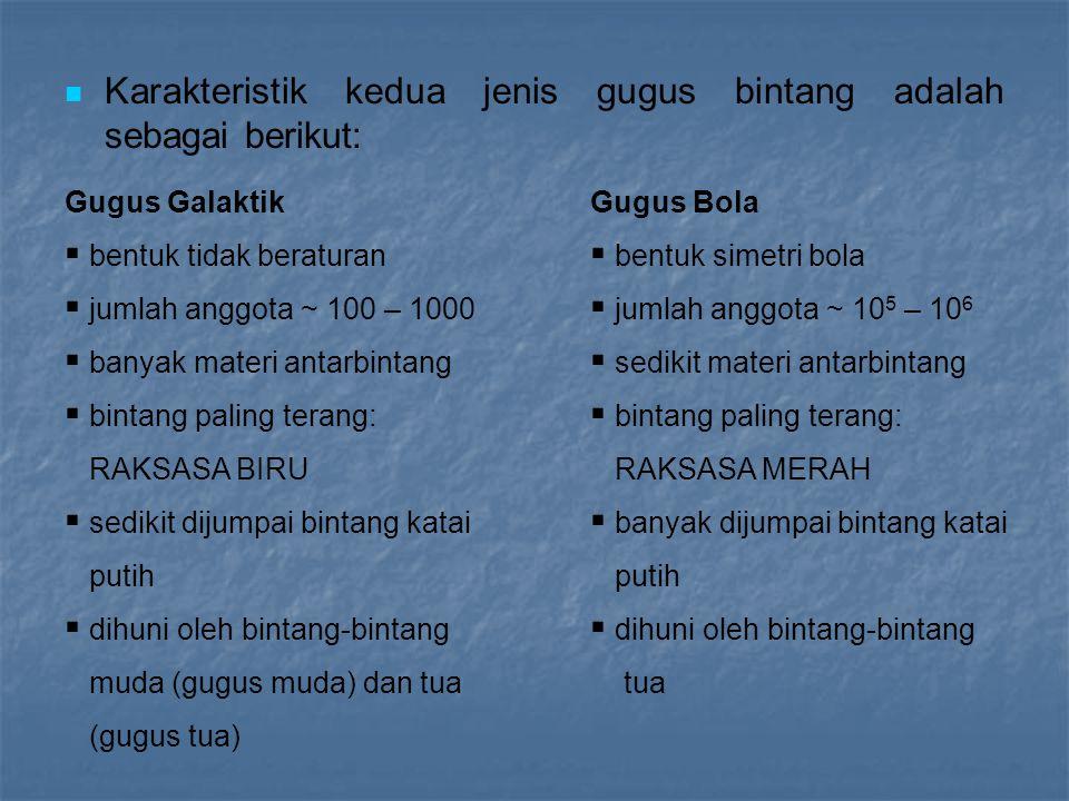 Karakteristik kedua jenis gugus bintang adalah sebagai berikut:
