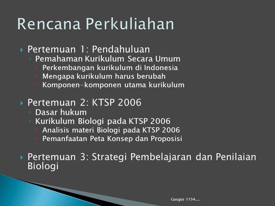 Rencana Perkuliahan Pertemuan 1: Pendahuluan Pertemuan 2: KTSP 2006