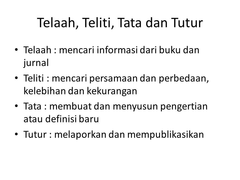 Telaah, Teliti, Tata dan Tutur