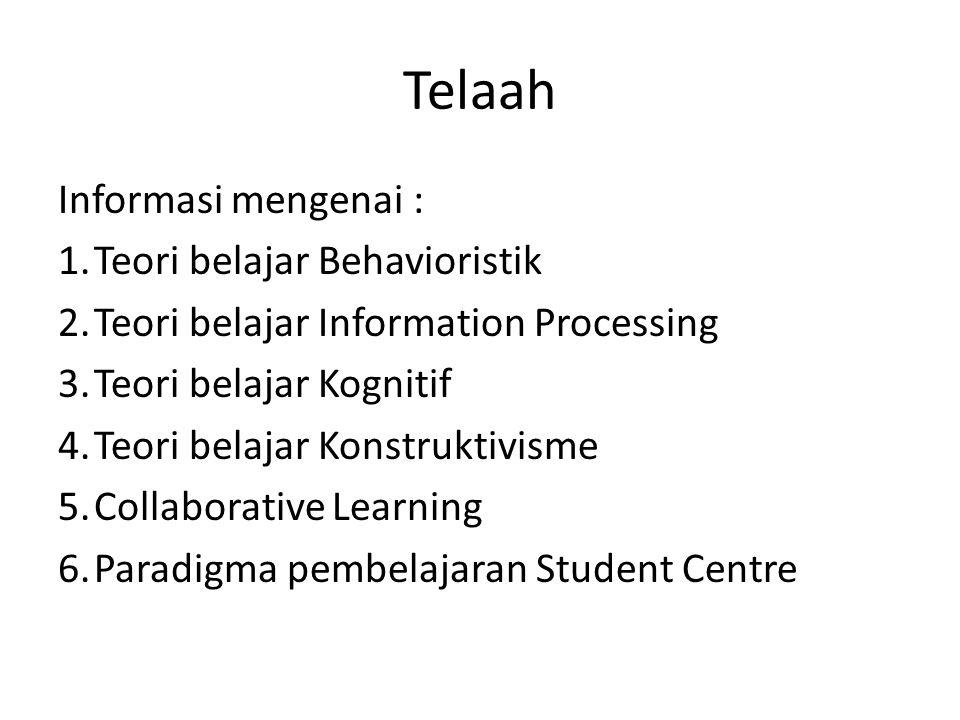 Telaah Informasi mengenai : 1. Teori belajar Behavioristik