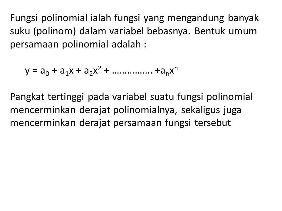 Fungsi polinomial ialah fungsi yang mengandung banyak suku (polinom) dalam variabel bebasnya. Bentuk umum persamaan polinomial adalah :