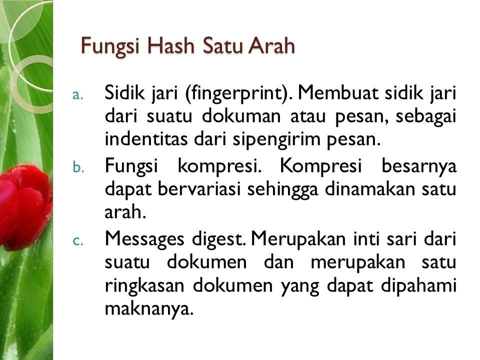 Fungsi Hash Satu Arah Sidik jari (fingerprint). Membuat sidik jari dari suatu dokuman atau pesan, sebagai indentitas dari sipengirim pesan.
