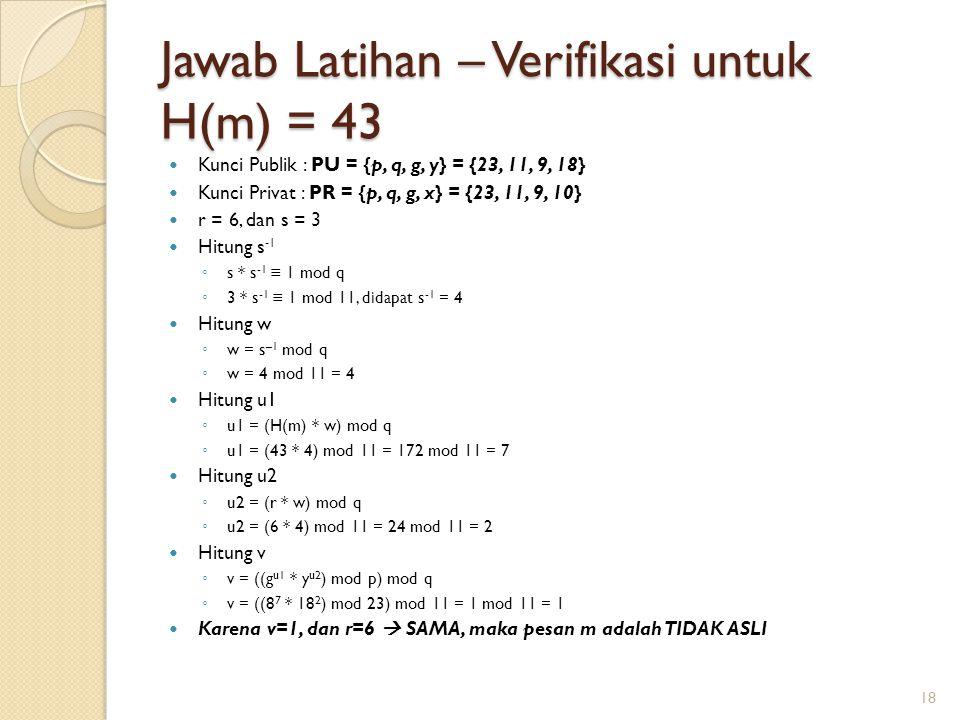 Jawab Latihan – Verifikasi untuk H(m) = 43
