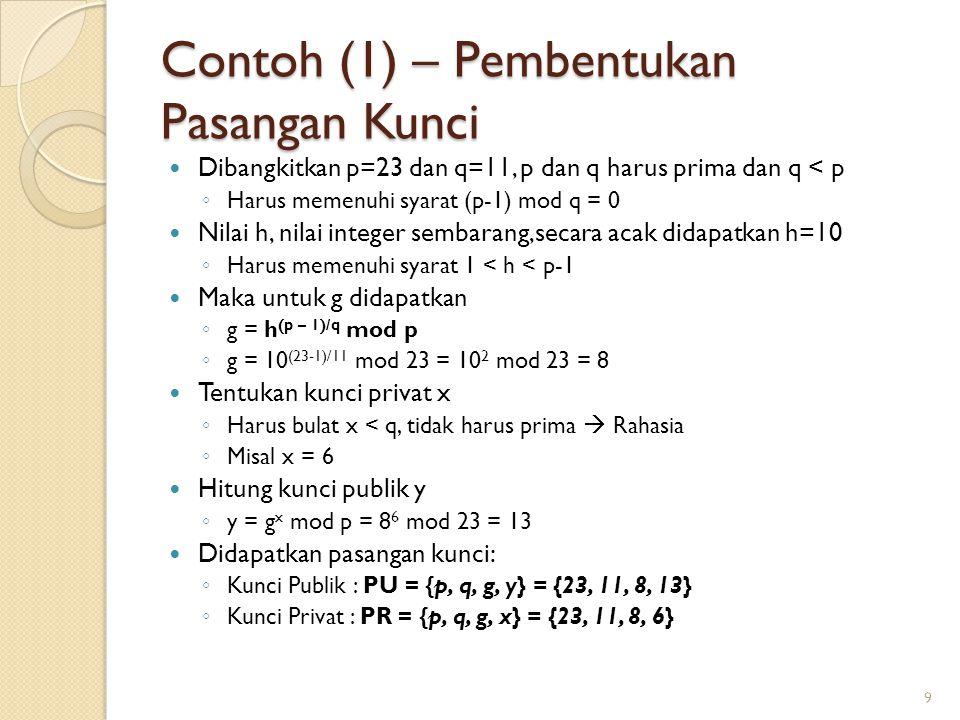 Contoh (1) – Pembentukan Pasangan Kunci