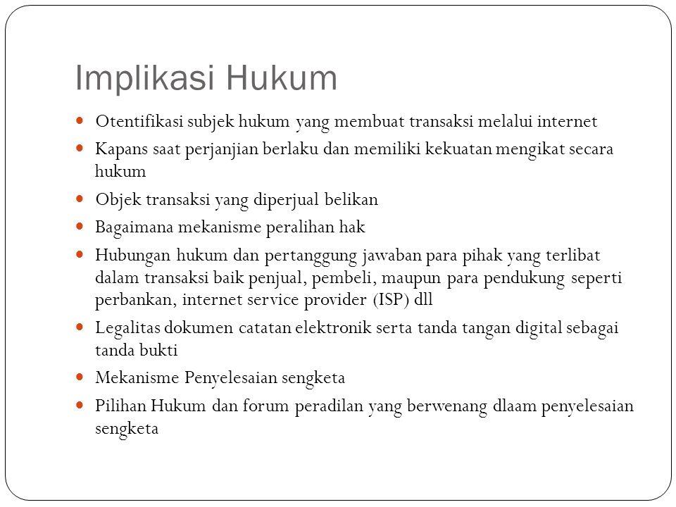 Implikasi Hukum Otentifikasi subjek hukum yang membuat transaksi melalui internet.