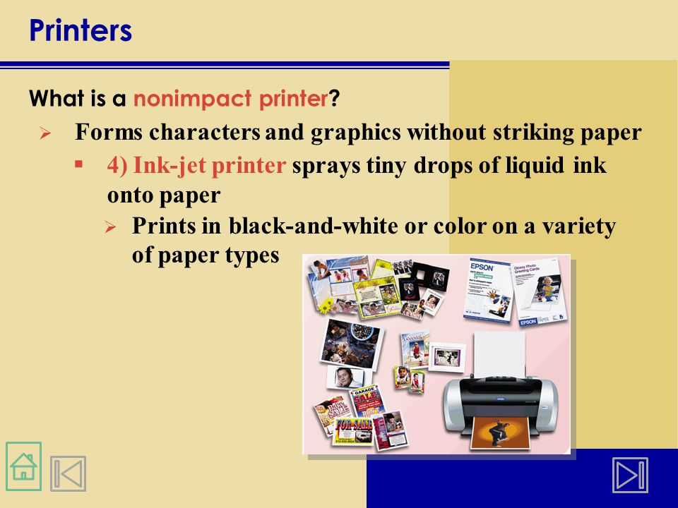 Printers Forms characters and graphics without striking paper