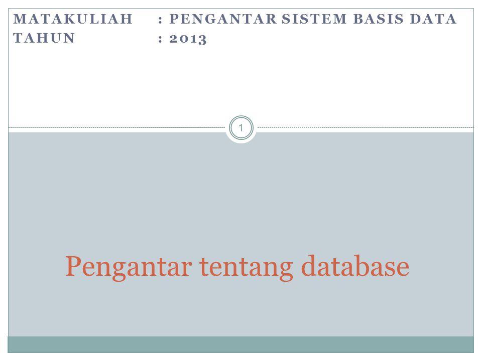 Pengantar tentang database