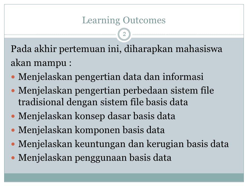 Learning Outcomes Pada akhir pertemuan ini, diharapkan mahasiswa. akan mampu : Menjelaskan pengertian data dan informasi.