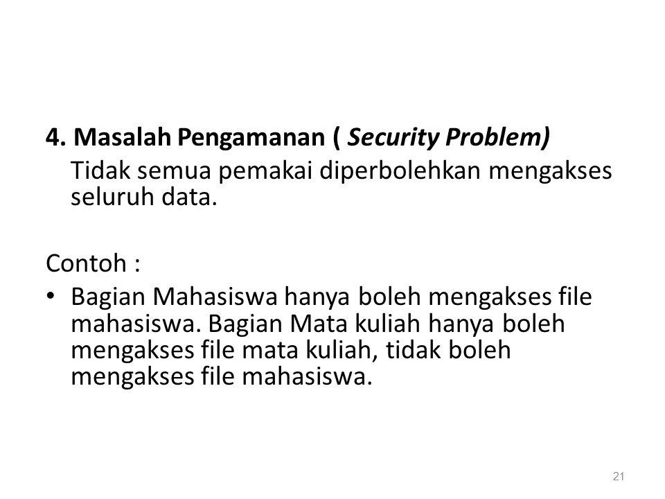 4. Masalah Pengamanan ( Security Problem)