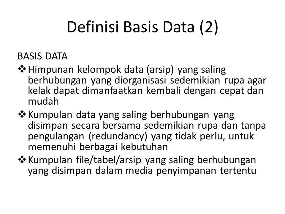 Definisi Basis Data (2) BASIS DATA