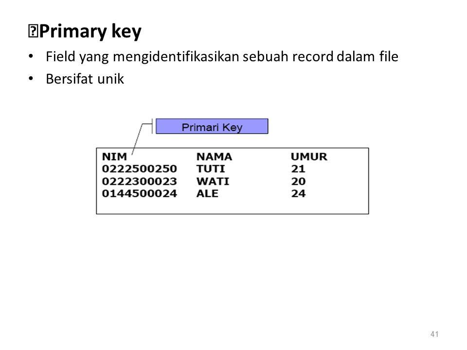 ◆Primary key Field yang mengidentifikasikan sebuah record dalam file