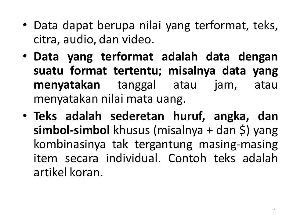 Data dapat berupa nilai yang terformat, teks, citra, audio, dan video.