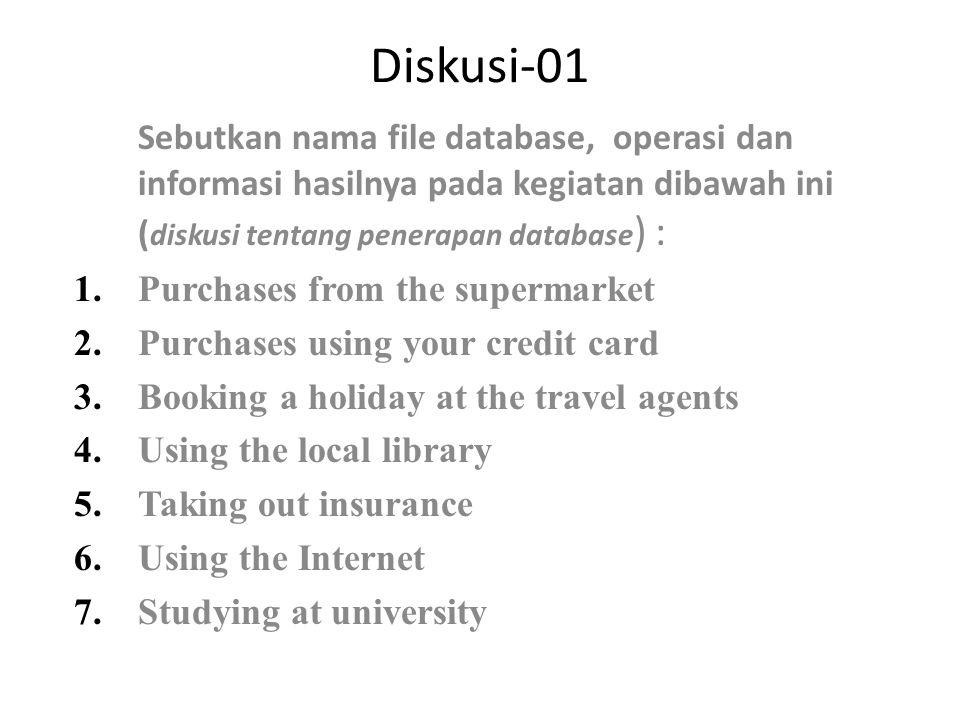 Diskusi-01 Sebutkan nama file database, operasi dan informasi hasilnya pada kegiatan dibawah ini (diskusi tentang penerapan database) :