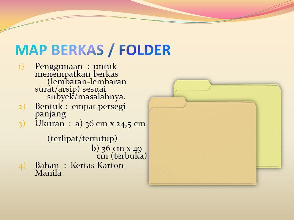 MAP BERKAS / FOLDER Penggunaan : untuk menempatkan berkas (lembaran-lembaran surat/arsip) sesuai subyek/masalahnya.