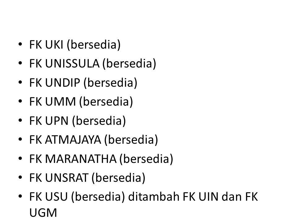 FK UKI (bersedia) FK UNISSULA (bersedia) FK UNDIP (bersedia) FK UMM (bersedia) FK UPN (bersedia)