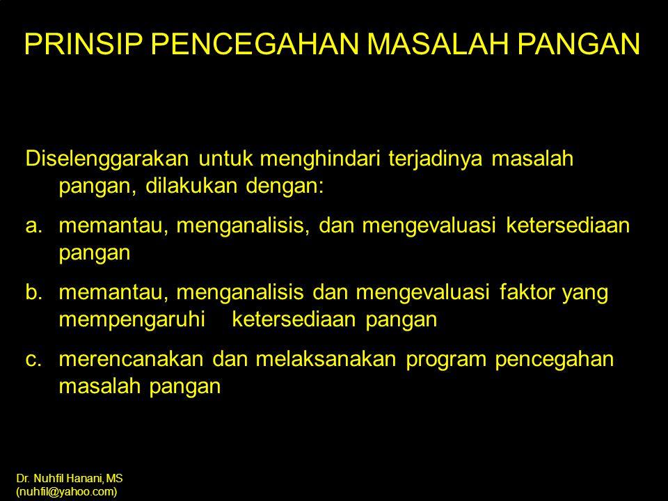 PRINSIP PENCEGAHAN MASALAH PANGAN