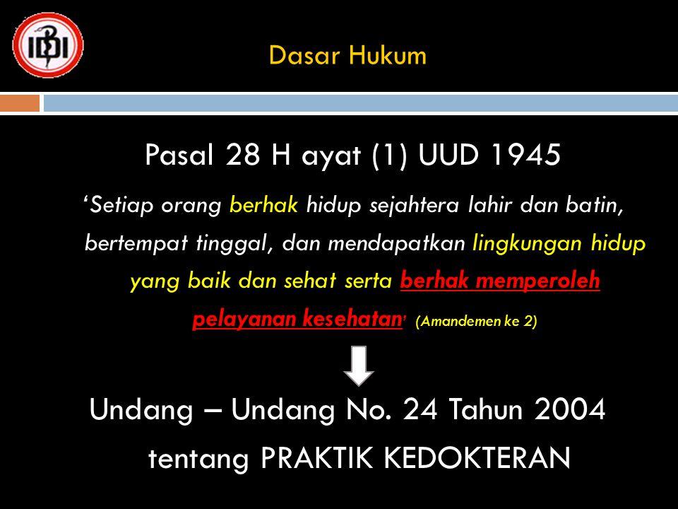 Undang – Undang No. 24 Tahun 2004 tentang PRAKTIK KEDOKTERAN