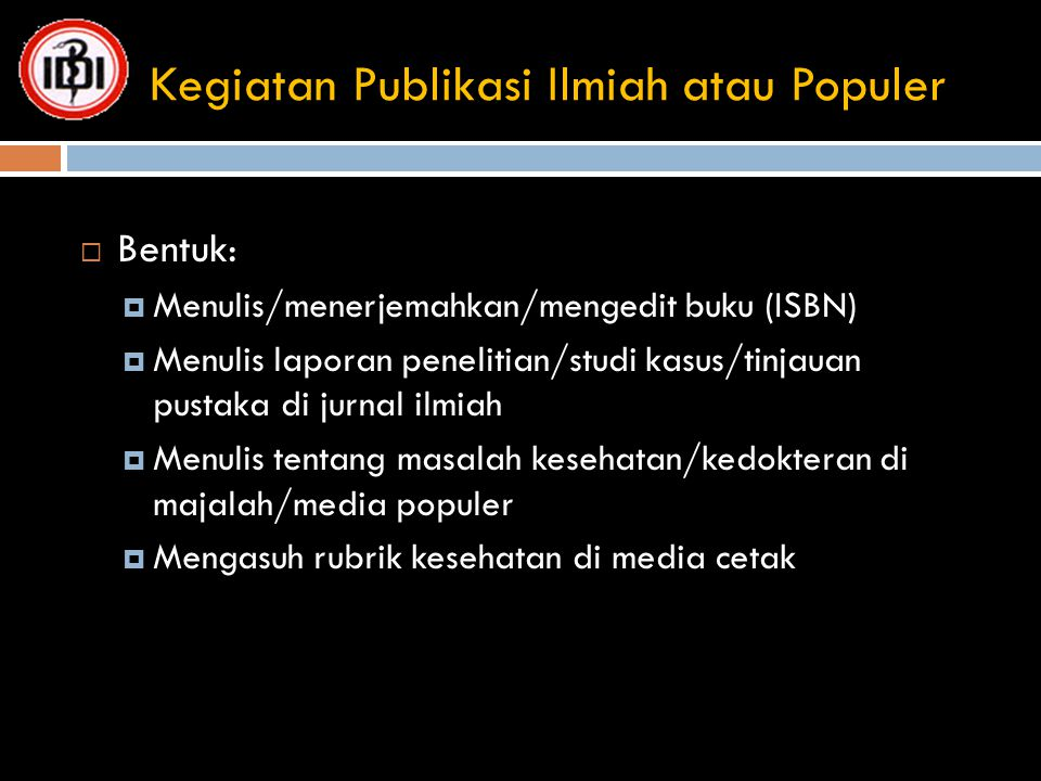Kegiatan Publikasi Ilmiah atau Populer