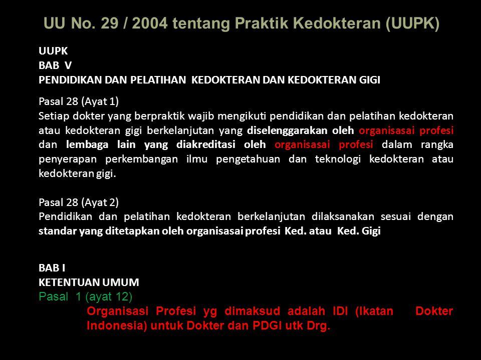 UU No. 29 / 2004 tentang Praktik Kedokteran (UUPK)