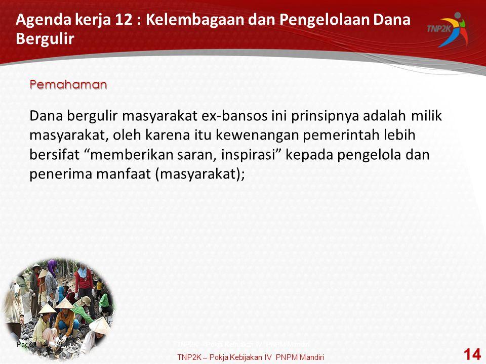 Agenda kerja 12 : Kelembagaan dan Pengelolaan Dana Bergulir