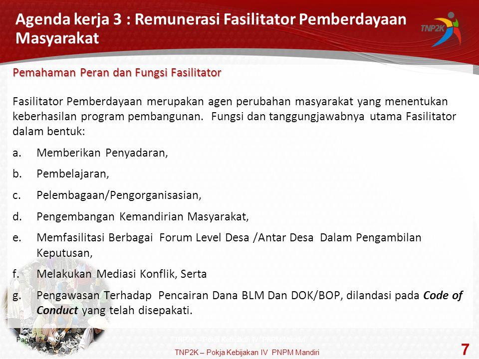 Agenda kerja 3 : Remunerasi Fasilitator Pemberdayaan Masyarakat