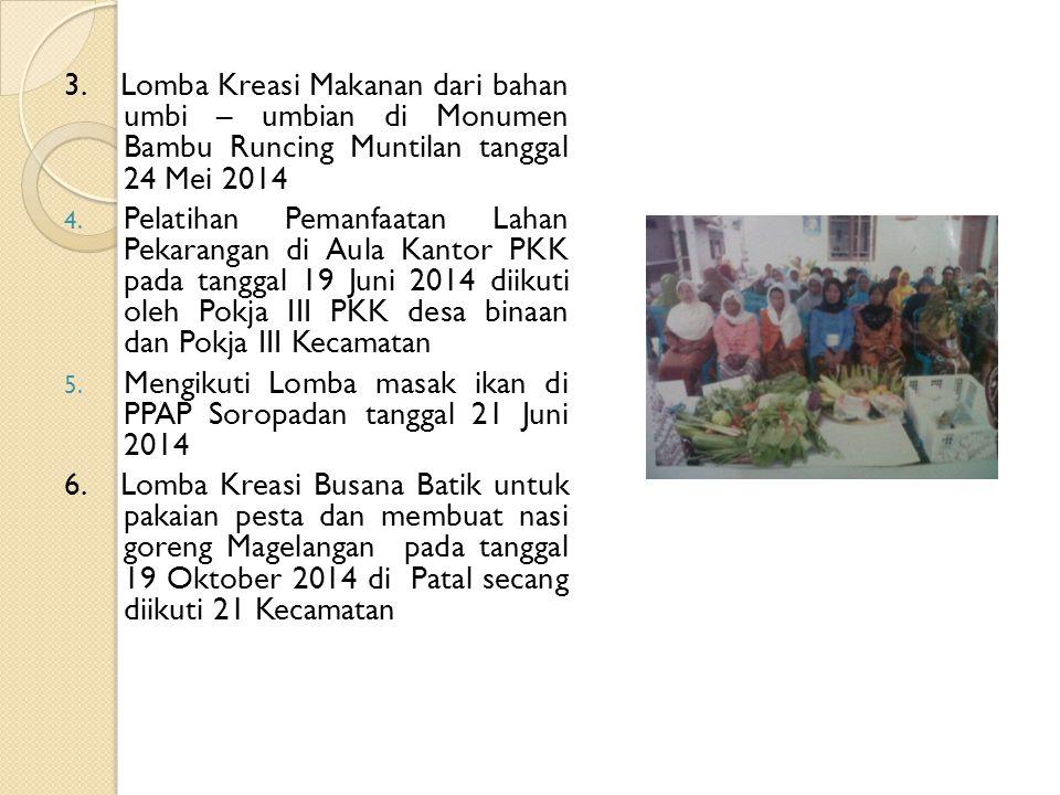 3. Lomba Kreasi Makanan dari bahan umbi – umbian di Monumen Bambu Runcing Muntilan tanggal 24 Mei 2014