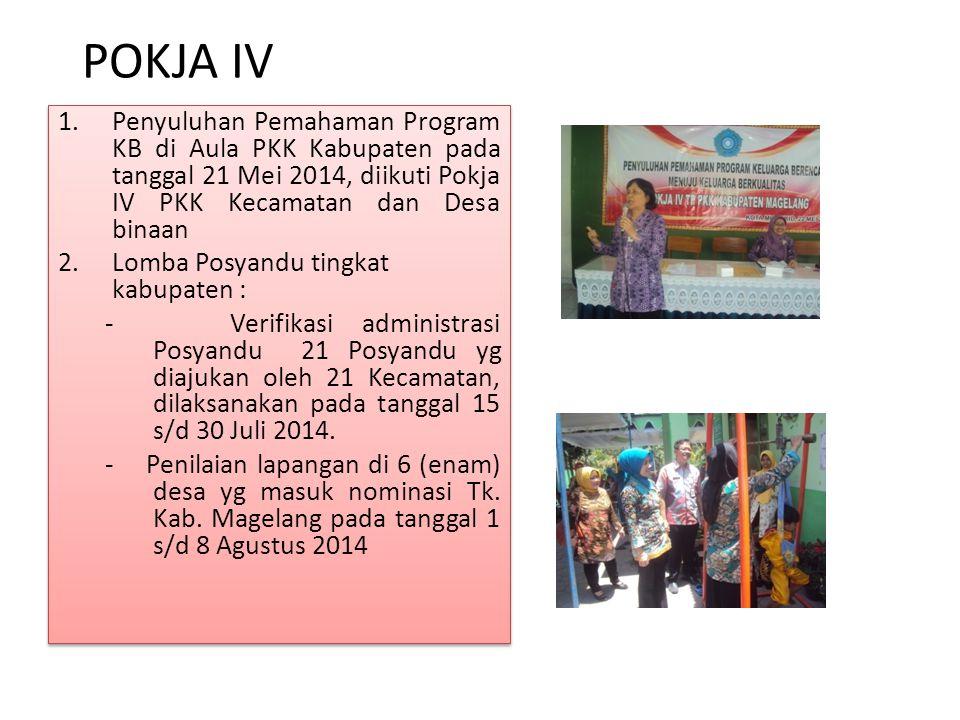 POKJA IV Penyuluhan Pemahaman Program KB di Aula PKK Kabupaten pada tanggal 21 Mei 2014, diikuti Pokja IV PKK Kecamatan dan Desa binaan.