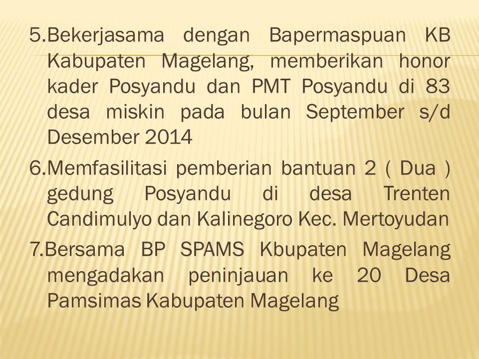 5.Bekerjasama dengan Bapermaspuan KB Kabupaten Magelang, memberikan honor kader Posyandu dan PMT Posyandu di 83 desa miskin pada bulan September s/d Desember 2014 6.Memfasilitasi pemberian bantuan 2 ( Dua ) gedung Posyandu di desa Trenten Candimulyo dan Kalinegoro Kec.