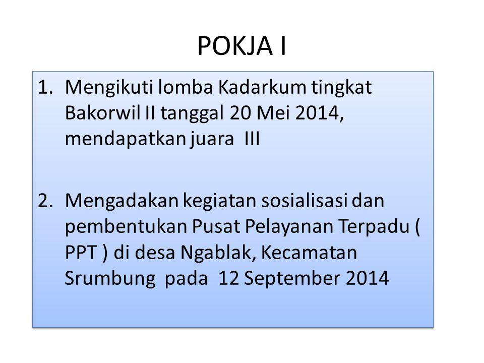 POKJA I Mengikuti lomba Kadarkum tingkat Bakorwil II tanggal 20 Mei 2014, mendapatkan juara III.