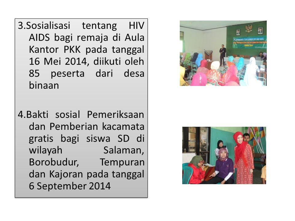 3.Sosialisasi tentang HIV AIDS bagi remaja di Aula Kantor PKK pada tanggal 16 Mei 2014, diikuti oleh 85 peserta dari desa binaan 4.Bakti sosial Pemeriksaan dan Pemberian kacamata gratis bagi siswa SD di wilayah Salaman, Borobudur, Tempuran dan Kajoran pada tanggal 6 September 2014