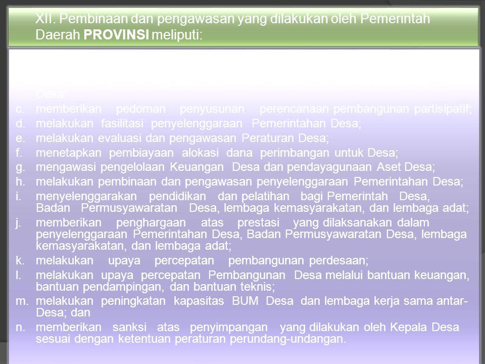 XII. Pembinaan dan pengawasan yang dilakukan oleh Pemerintah Daerah PROVINSI meliputi: