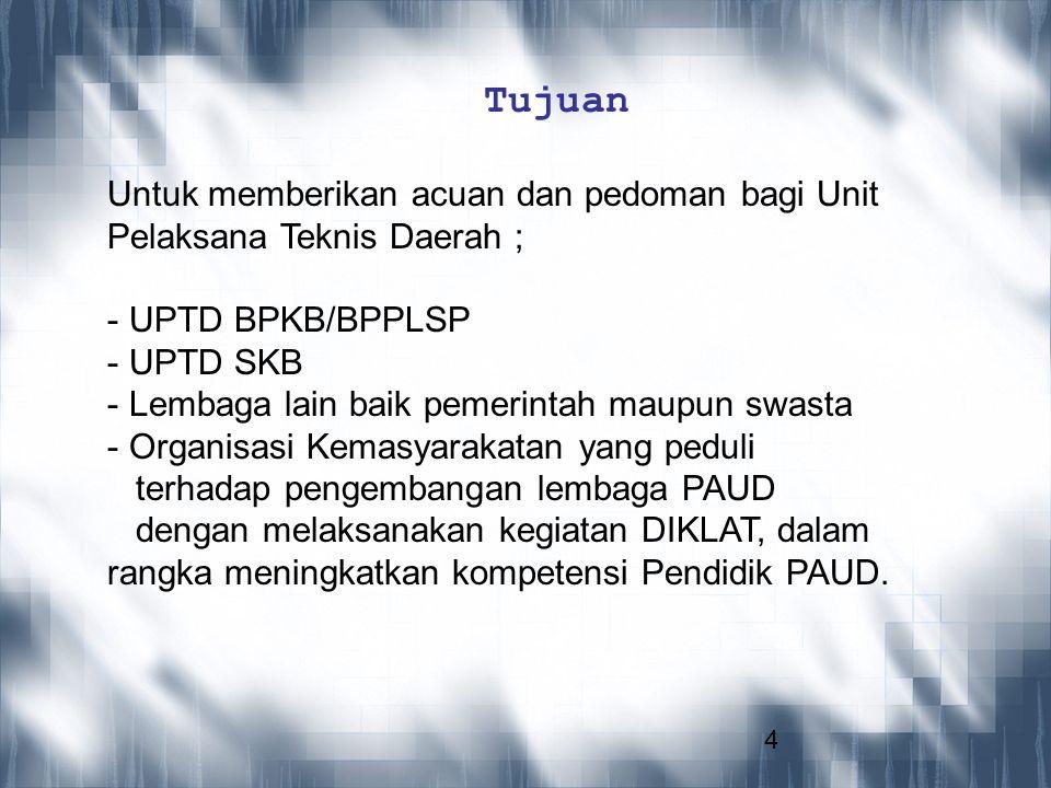 Tujuan Untuk memberikan acuan dan pedoman bagi Unit Pelaksana Teknis Daerah ; UPTD BPKB/BPPLSP. UPTD SKB.