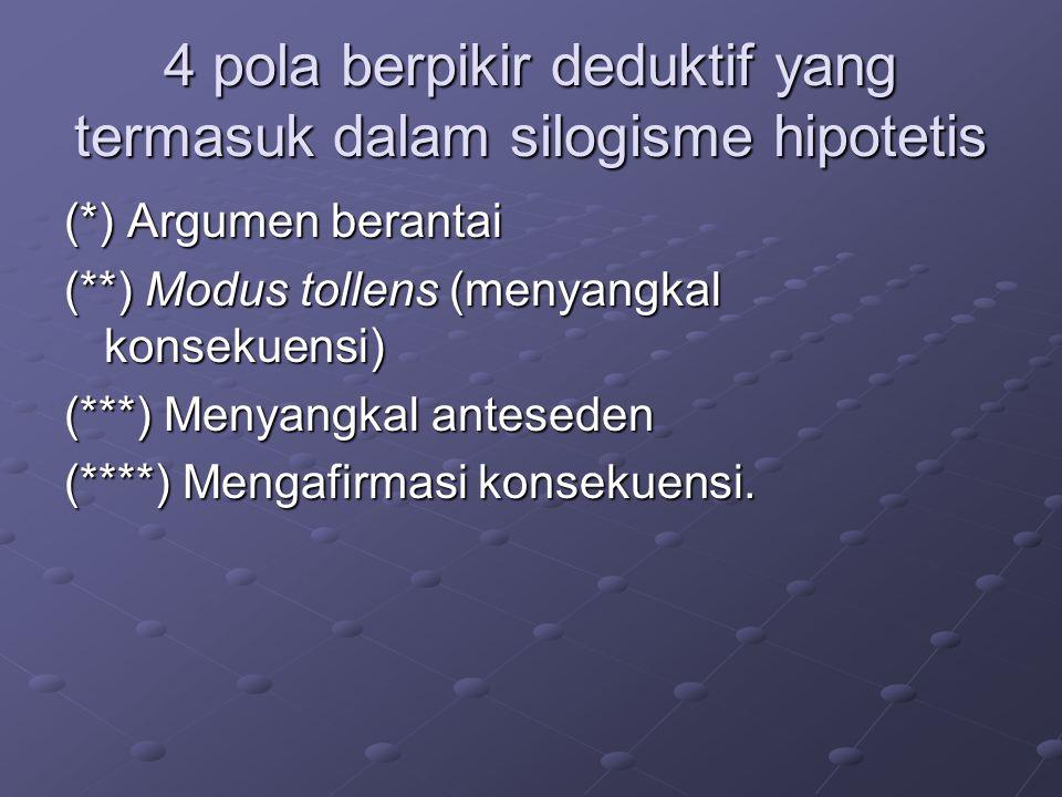 4 pola berpikir deduktif yang termasuk dalam silogisme hipotetis