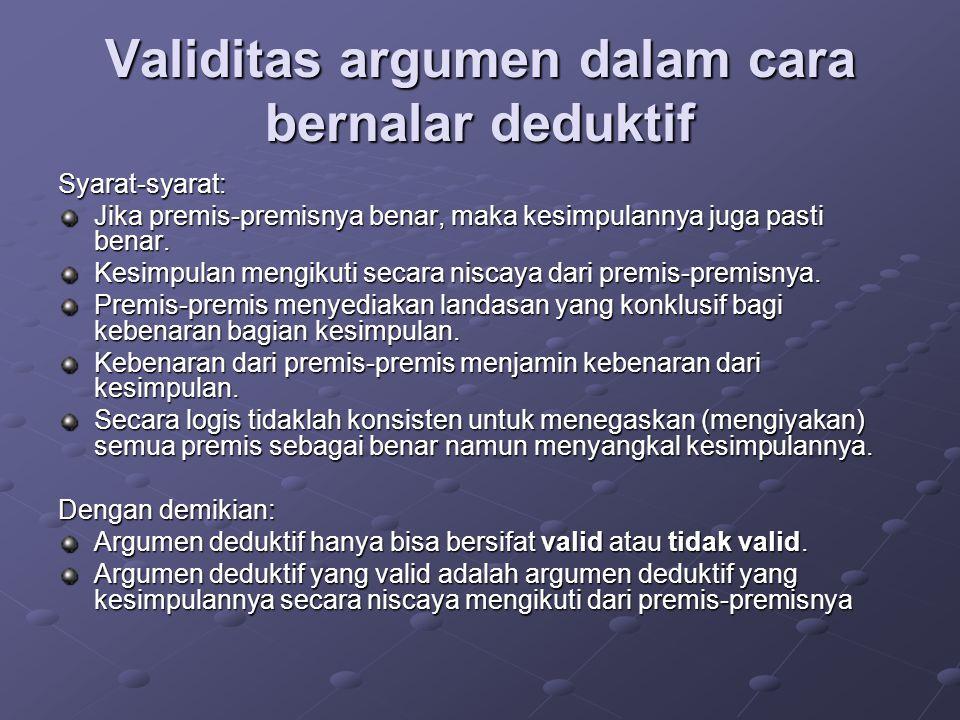 Validitas argumen dalam cara bernalar deduktif