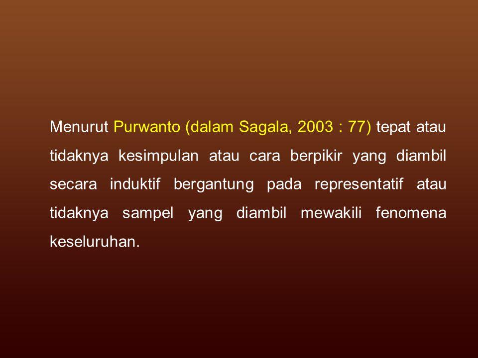 Menurut Purwanto (dalam Sagala, 2003 : 77) tepat atau tidaknya kesimpulan atau cara berpikir yang diambil secara induktif bergantung pada representatif atau tidaknya sampel yang diambil mewakili fenomena keseluruhan.