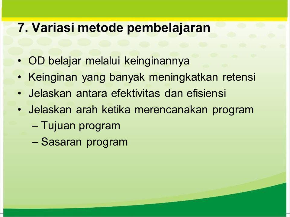 7. Variasi metode pembelajaran