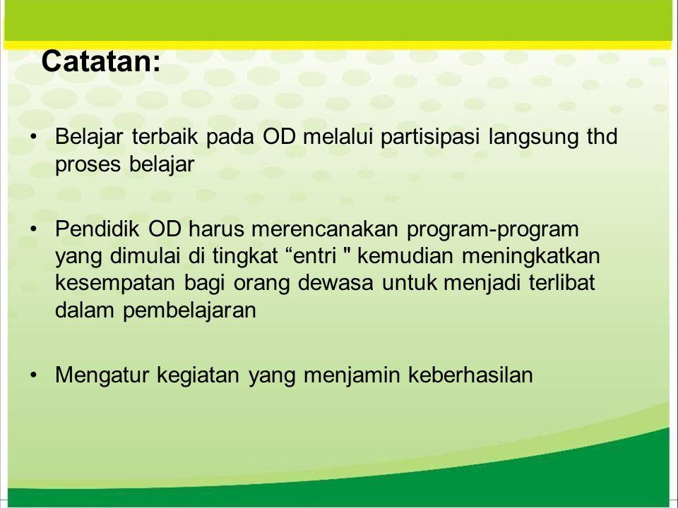 Catatan: Belajar terbaik pada OD melalui partisipasi langsung thd proses belajar.