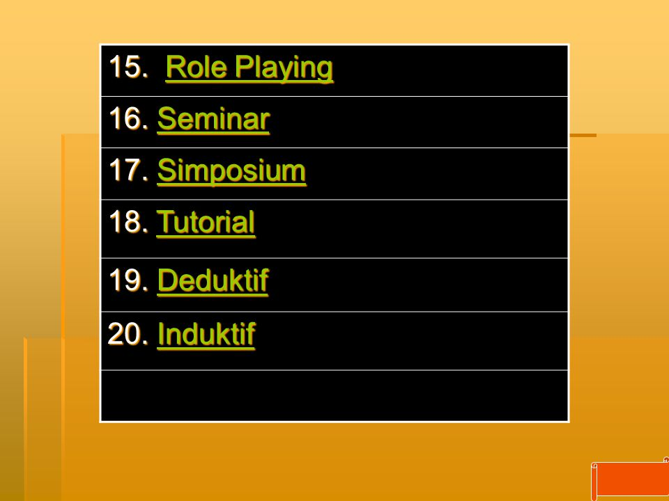 15. Role Playing 16. Seminar 17. Simposium 18. Tutorial 19. Deduktif 20. Induktif