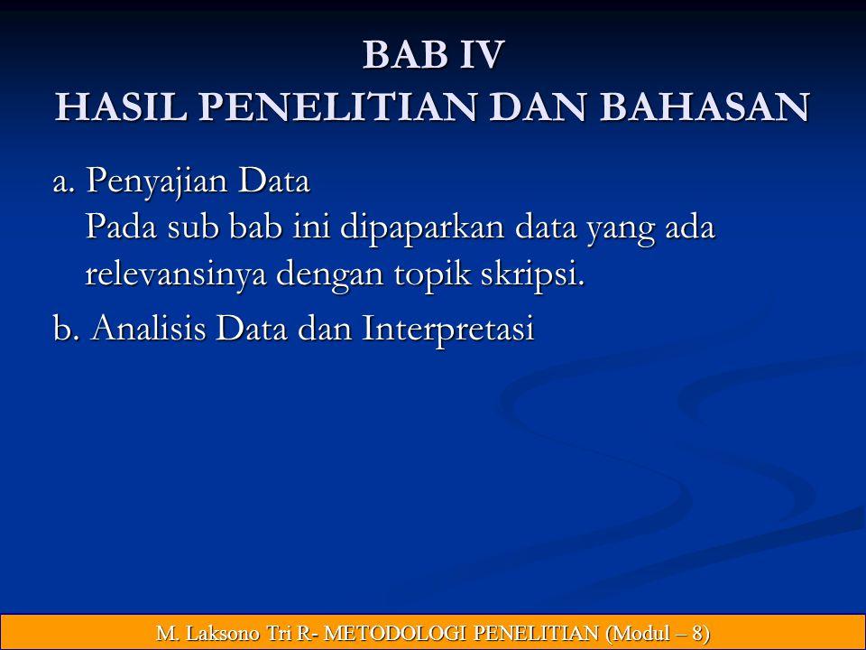 BAB IV HASIL PENELITIAN DAN BAHASAN
