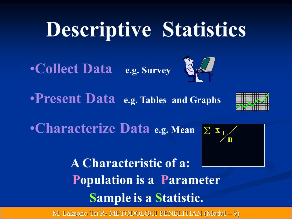 Descriptive Statistics Population is a Parameter