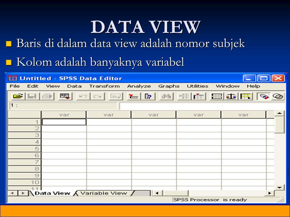 DATA VIEW Baris di dalam data view adalah nomor subjek